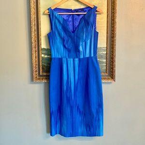 TAHARI Brilliant Blues Bodice Midi Dress Sz 6 M2